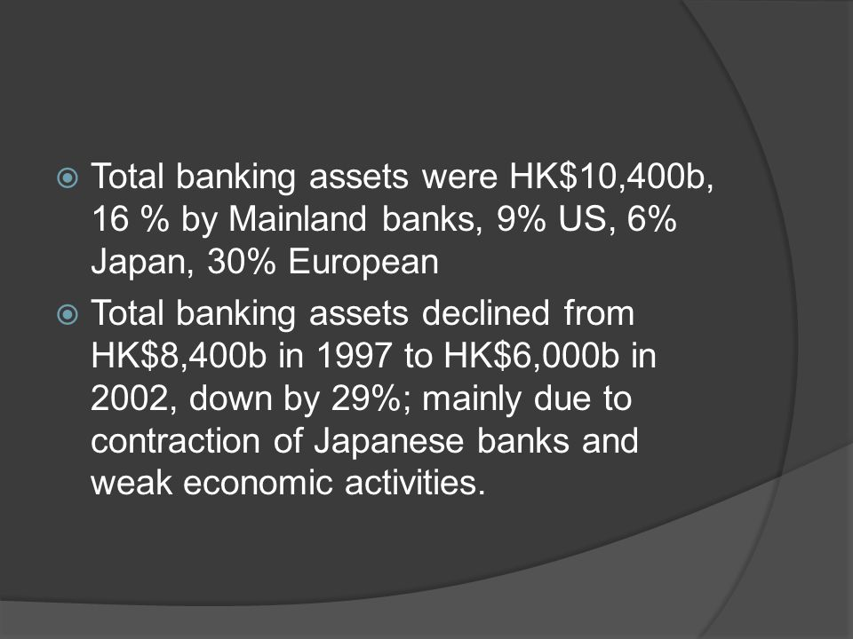  Total banking assets were HK$10,400b, 16 % by Mainland banks, 9% US, 6% Japan, 30% European  Total banking assets declined from HK$8,400b in 1997 to HK$6,000b in 2002, down by 29%; mainly due to contraction of Japanese banks and weak economic activities.