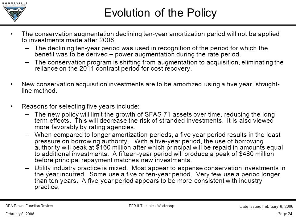 BPA Power Function ReviewPFR II Technical Workshop February 8, 2006 Date Issued February 8, 2006 Page 24 Evolution of the Policy The conservation augm