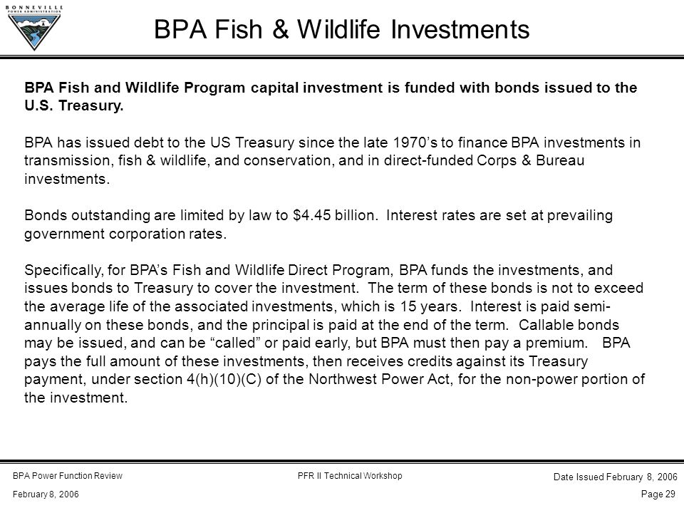 BPA Power Function ReviewPFR II Technical Workshop February 8, 2006 Date Issued February 8, 2006 Page 29 BPA Fish & Wildlife Investments BPA Fish and