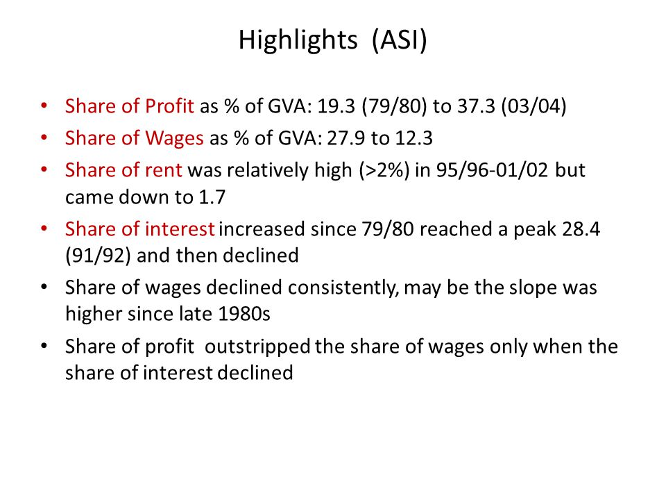 Highlights (ASI) Share of Profit as % of GVA: 19.3 (79/80) to 37.3 (03/04) Share of Wages as % of GVA: 27.9 to 12.3 Share of rent was relatively high