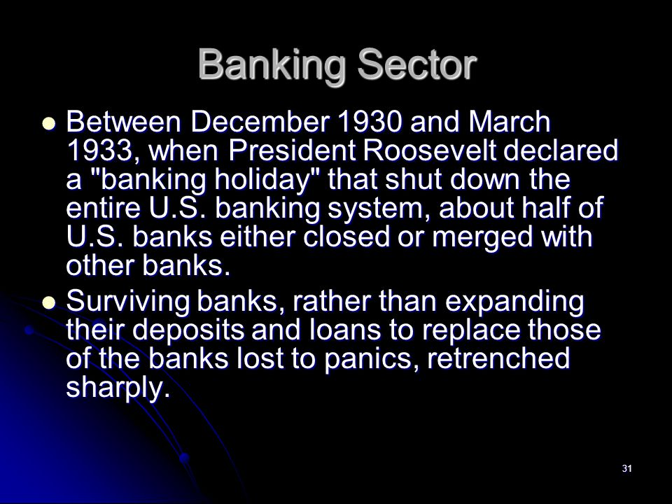 30 Banking Sector As depositor fears about the health of banks grew, runs on banks became increasingly common.
