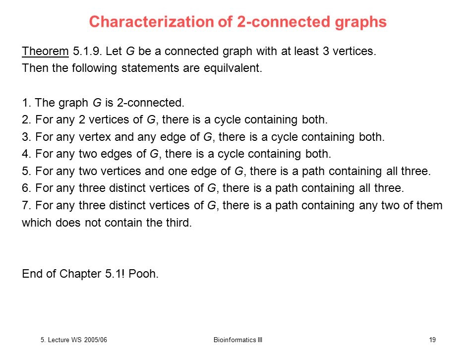 5. Lecture WS 2005/06Bioinformatics III19 Characterization of 2-connected graphs Theorem 5.1.9.