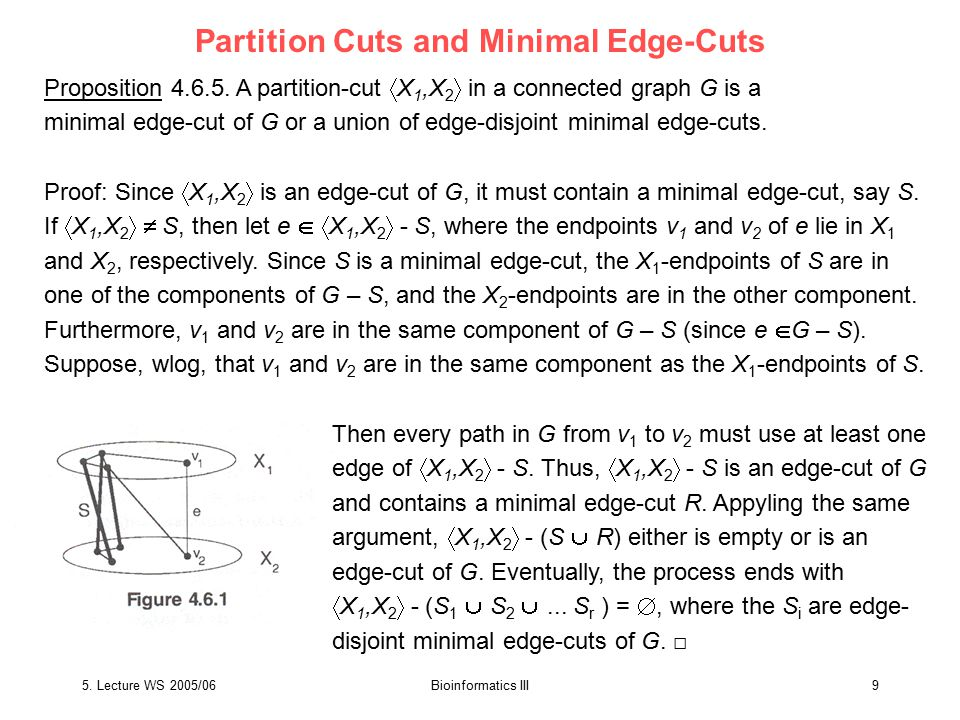 5. Lecture WS 2005/06Bioinformatics III9 Partition Cuts and Minimal Edge-Cuts Proposition 4.6.5.