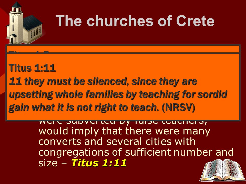 The churches of Crete  Paul and Titus preached from city to city and made many converts.