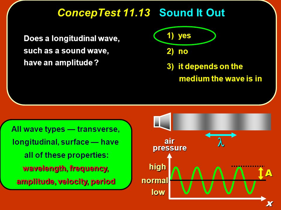1) yes 2) no 3) it depends on the medium the wave is in All wave types — transverse, longitudinal, surface — have all of these properties: wavelength, frequency, amplitude, velocity, period ConcepTest 11.13Sound It Out ConcepTest 11.13 Sound It Out Does a longitudinal wave, such as a sound wave, have an amplitude .