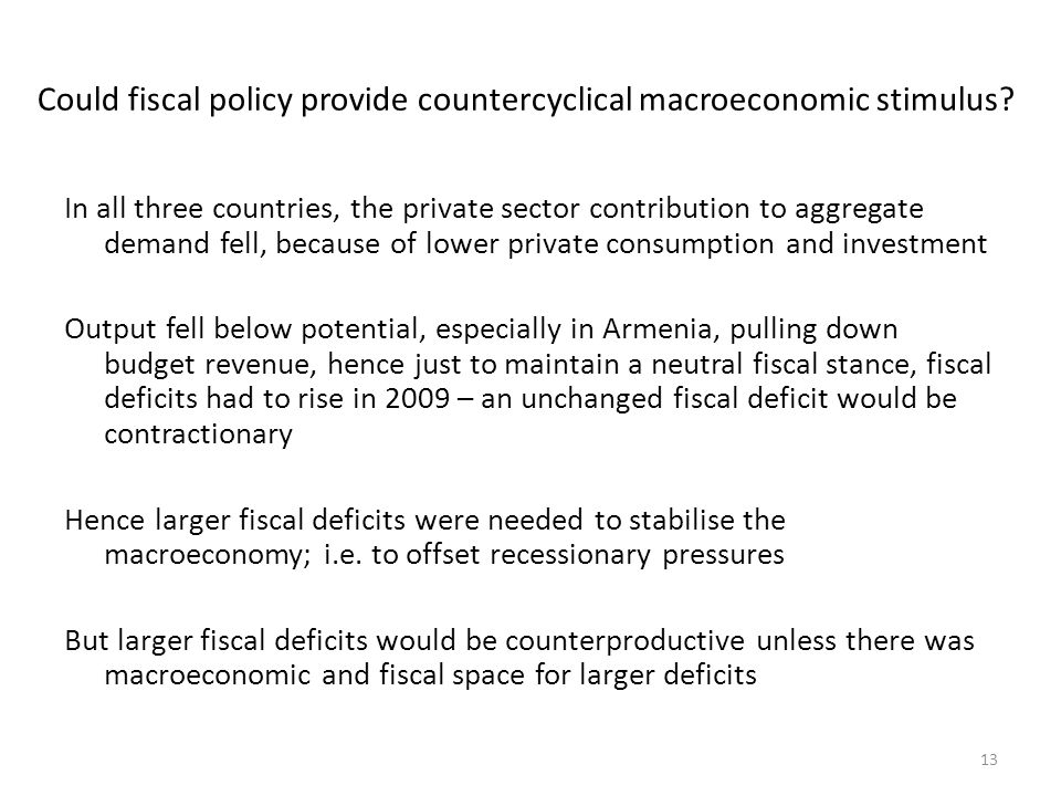 Could fiscal policy provide countercyclical macroeconomic stimulus.