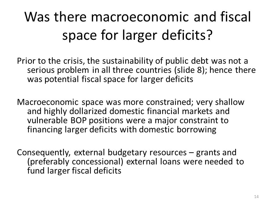 Was there macroeconomic and fiscal space for larger deficits.