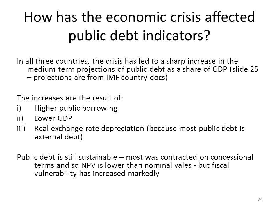 How has the economic crisis affected public debt indicators.
