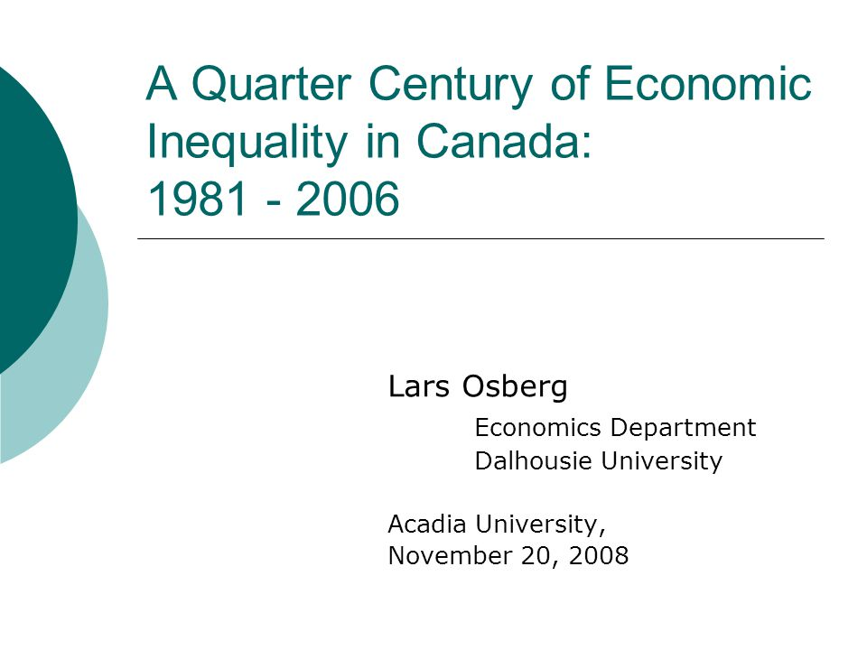 What has been happening to Economic Inequality in Canada in recent years.