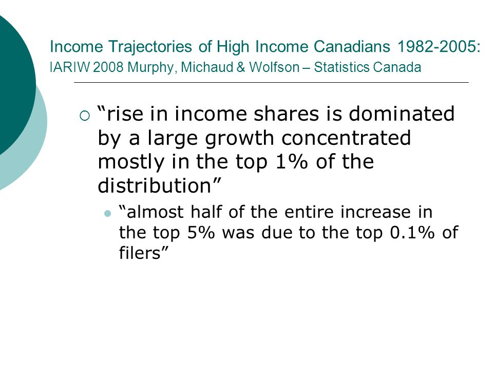 Income Trajectories of High Income Canadians 1982-2005: IARIW 2008 Murphy, Michaud & Wolfson – Statistics Canada  rise in income shares is dominated by a large growth concentrated mostly in the top 1% of the distribution almost half of the entire increase in the top 5% was due to the top 0.1% of filers