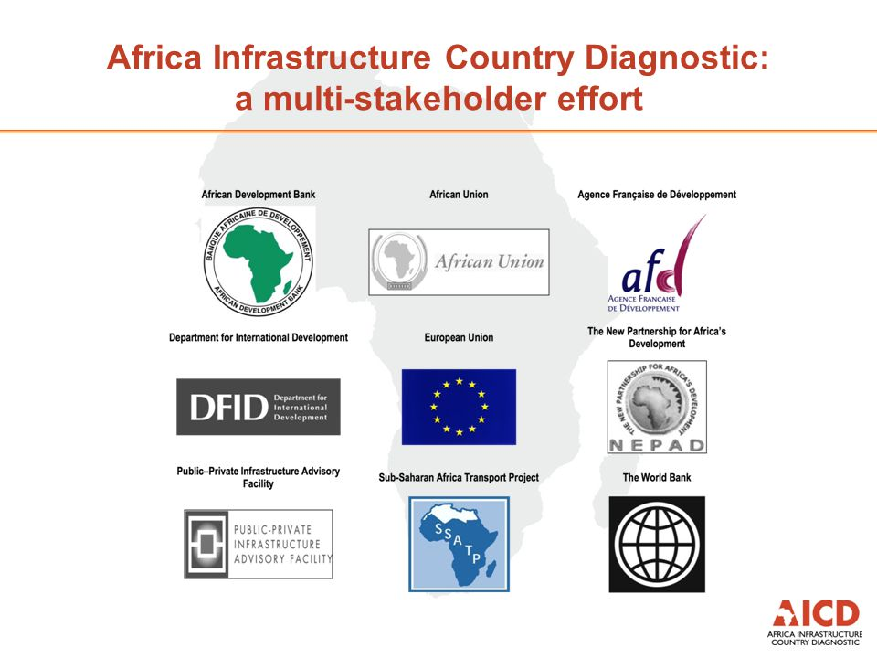 Methodology and approach  Methodology  Data collection by local/international consultants and Bank staff based on standardized methodology  Baseline year for data is 2006, does not reflect subsequent evolution  Approach  Focus on benchmarking Republic of Congo's infrastructure against African neighbors  Benchmarking group includes Resource rich countries, DRC, Benin, Nigeria and Cameroon