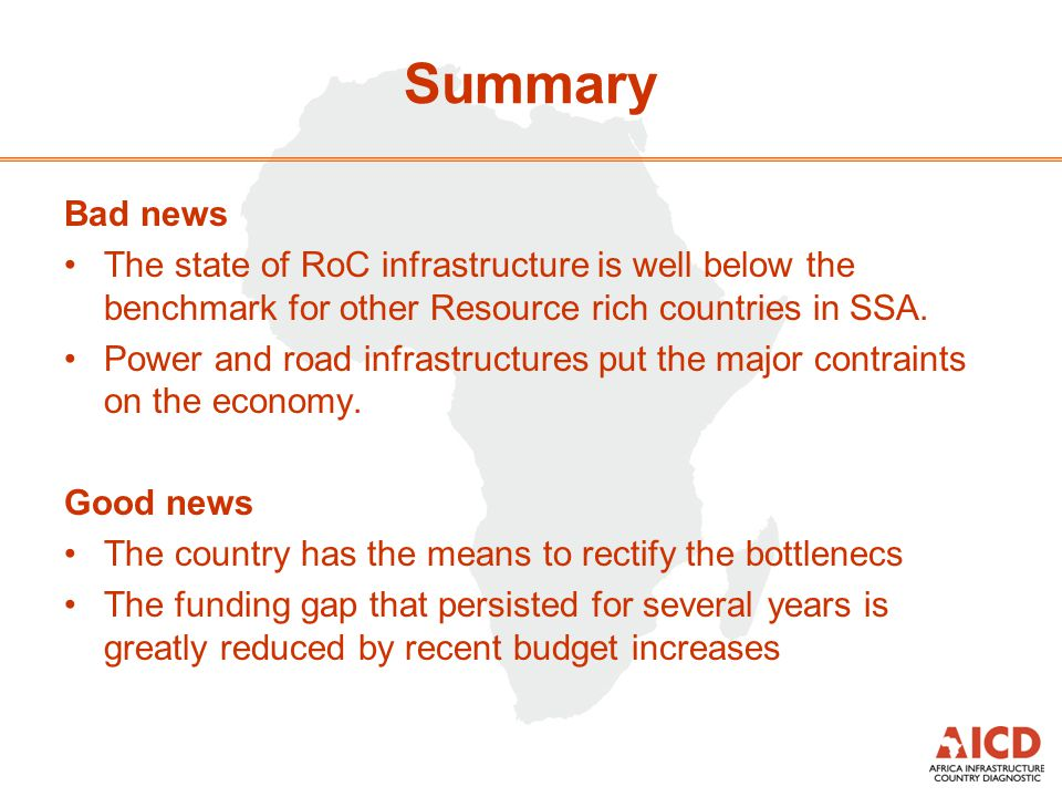 Summary Bad news The state of RoC infrastructure is well below the benchmark for other Resource rich countries in SSA.