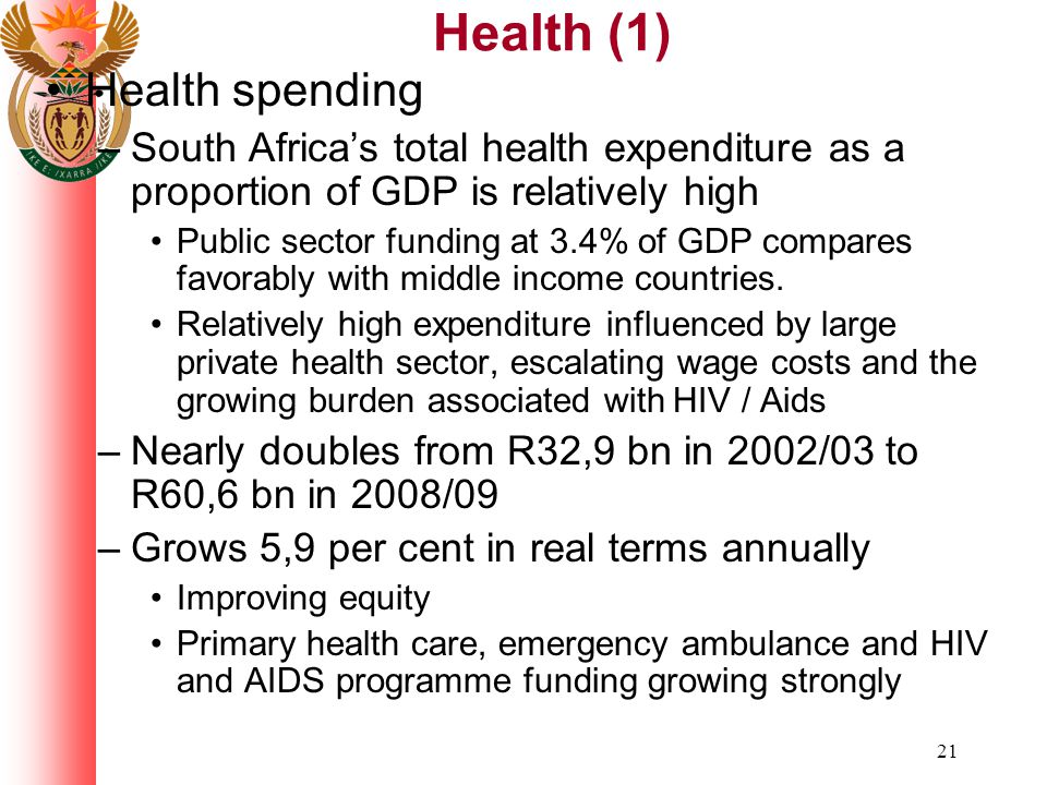 21 Health (1) Health spending –South Africa's total health expenditure as a proportion of GDP is relatively high Public sector funding at 3.4% of GDP compares favorably with middle income countries.