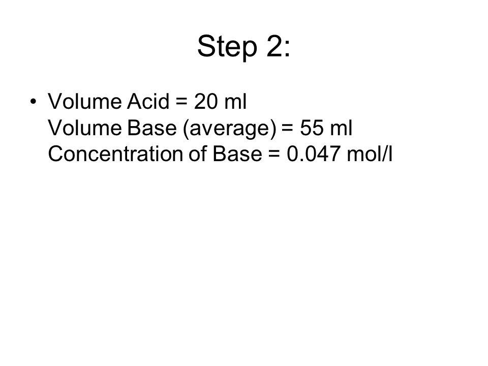 Step 2: Volume Acid = 20 ml Volume Base (average) = 55 ml Concentration of Base = 0.047 mol/l