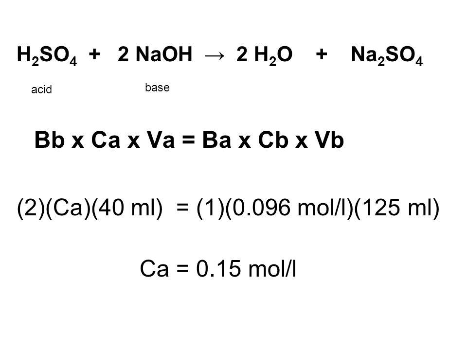 H 2 SO 4 + 2 NaOH → 2 H 2 O + Na 2 SO 4 Bb x Ca x Va = Ba x Cb x Vb (2)(Ca)(40 ml) = (1)(0.096 mol/l)(125 ml) Ca = 0.15 mol/l acid base
