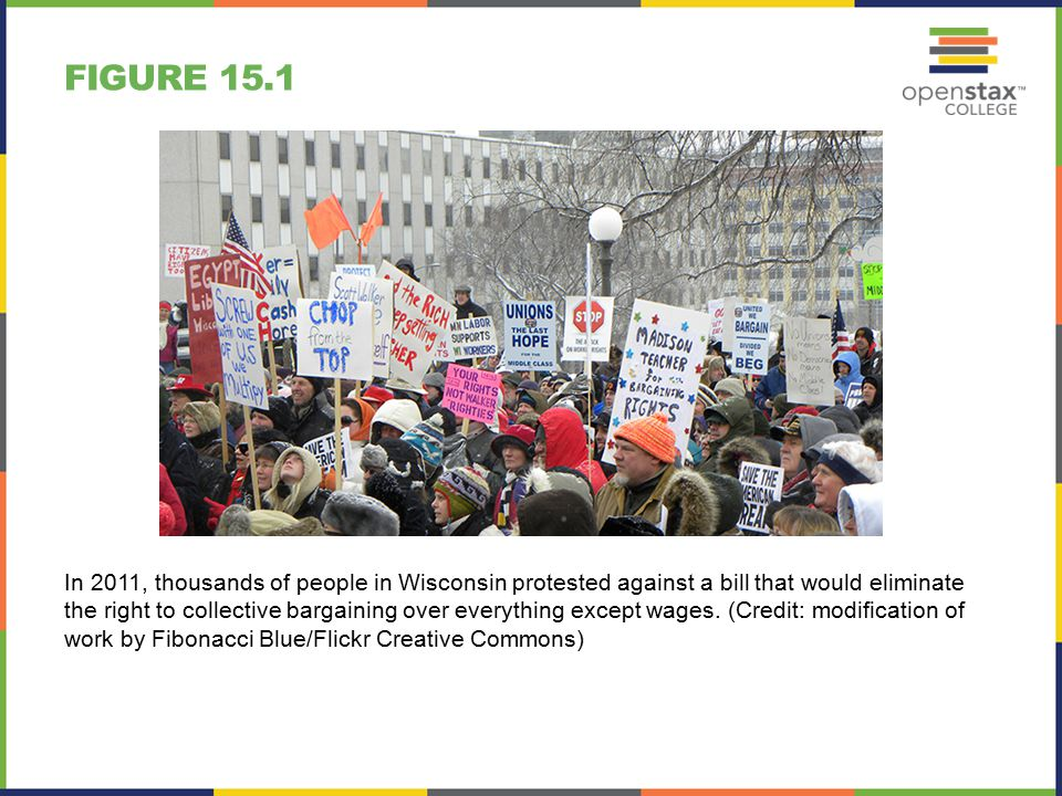 FIGURE 15.1 In 2011, thousands of people in Wisconsin protested against a bill that would eliminate the right to collective bargaining over everything except wages.