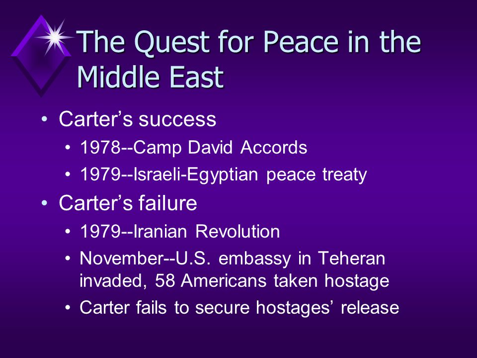 The Quest for Peace in the Middle East Carter's success 1978--Camp David Accords 1979--Israeli-Egyptian peace treaty Carter's failure 1979--Iranian Revolution November--U.S.