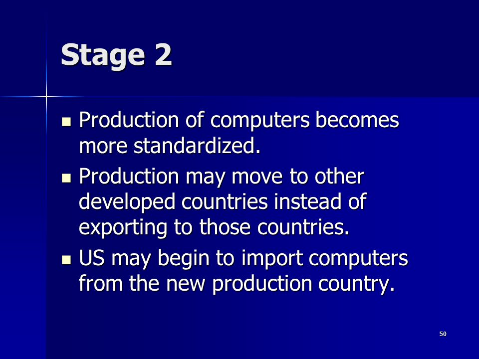49 Example Stage 1 Stage 1 –Computers are just introduced to the market in the US –They are expensive –Need high-income markets –R&D and production im