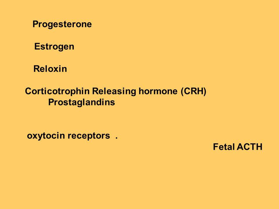 Progesterone Estrogen Reloxin Corticotrophin Releasing hormone (CRH) Prostaglandins oxytocin receptors.
