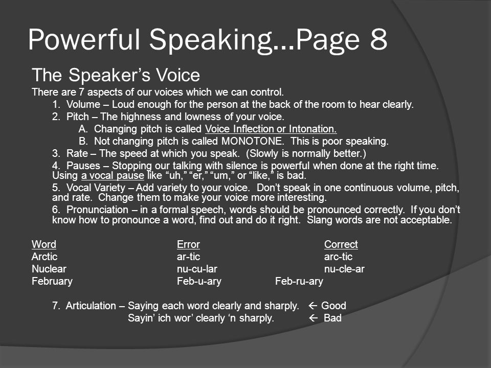 Powerful Speaking…Page 8 The Speaker's Voice There are 7 aspects of our voices which we can control. 1. Volume – Loud enough for the person at the bac