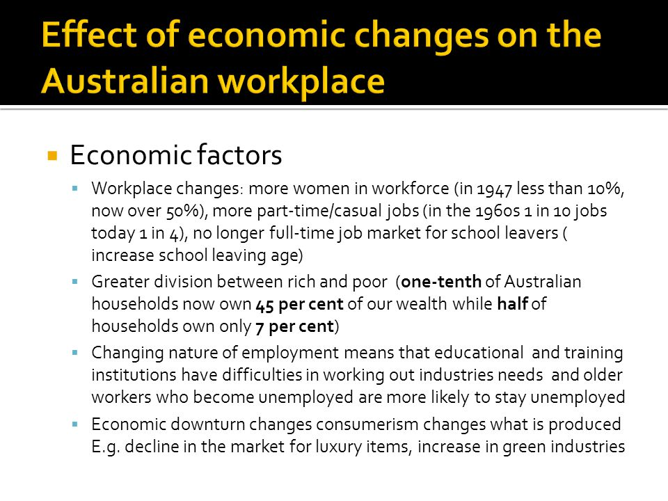  Economic factors  Workplace changes: more women in workforce (in 1947 less than 10%, now over 50%), more part-time/casual jobs (in the 1960s 1 in 10 jobs today 1 in 4), no longer full-time job market for school leavers ( increase school leaving age)  Greater division between rich and poor (one-tenth of Australian households now own 45 per cent of our wealth while half of households own only 7 per cent)  Changing nature of employment means that educational and training institutions have difficulties in working out industries needs and older workers who become unemployed are more likely to stay unemployed  Economic downturn changes consumerism changes what is produced E.g.