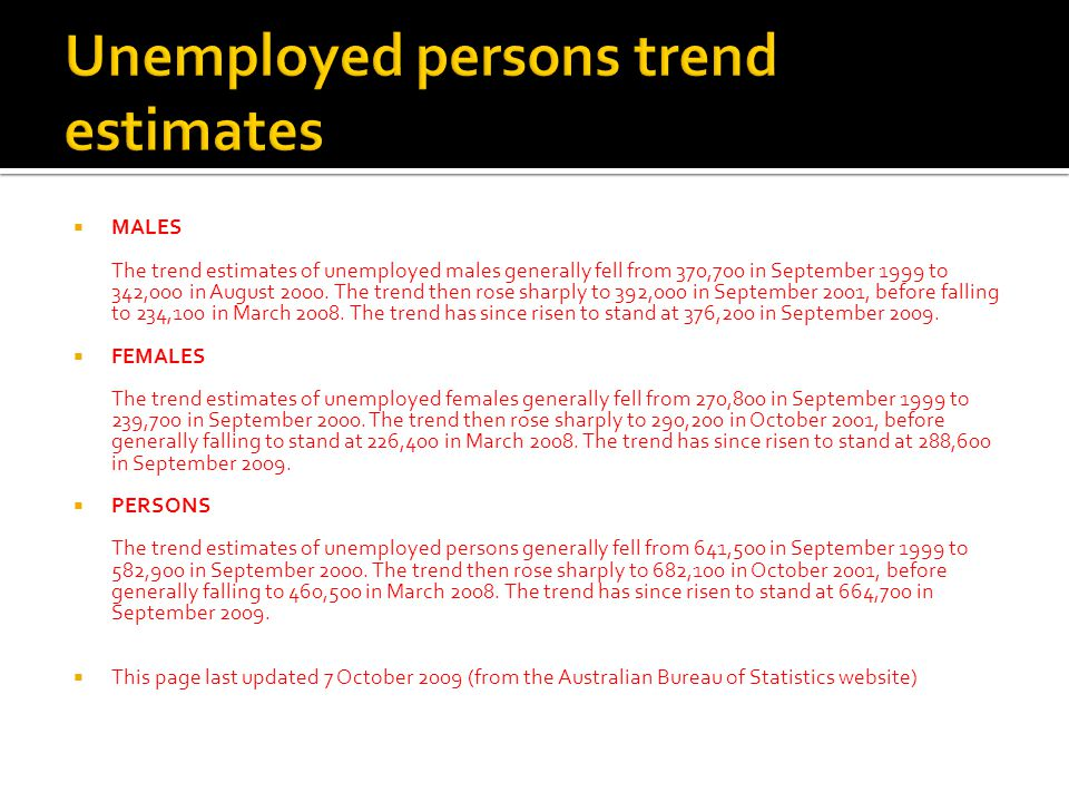  MALES The trend estimates of unemployed males generally fell from 370,700 in September 1999 to 342,000 in August 2000.