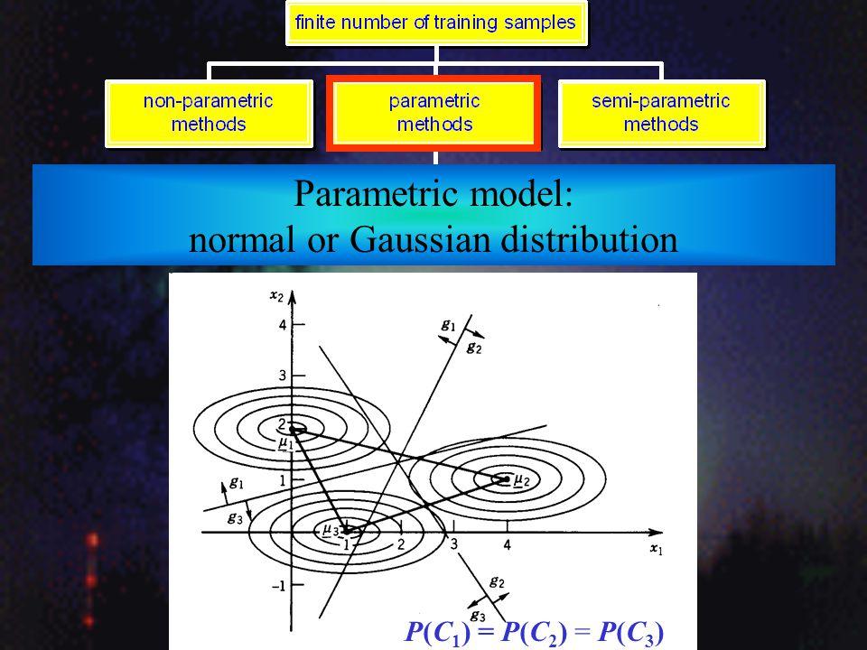 Parametric model: normal or Gaussian distribution P(C 1 ) = P(C 2 )