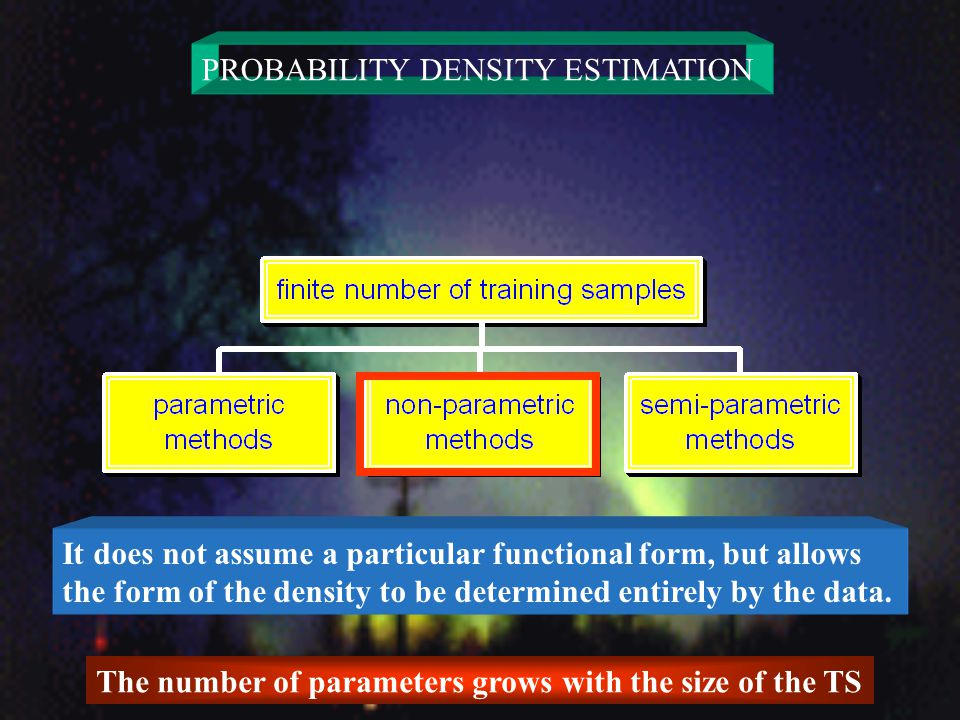 PROBABILITY DENSITY ESTIMATION It does not assume a particular functional form, but allows the form of the density to be determined entirely by the data.