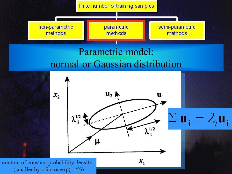 Parametric model: normal or Gaussian distribution Mahalanobis distance
