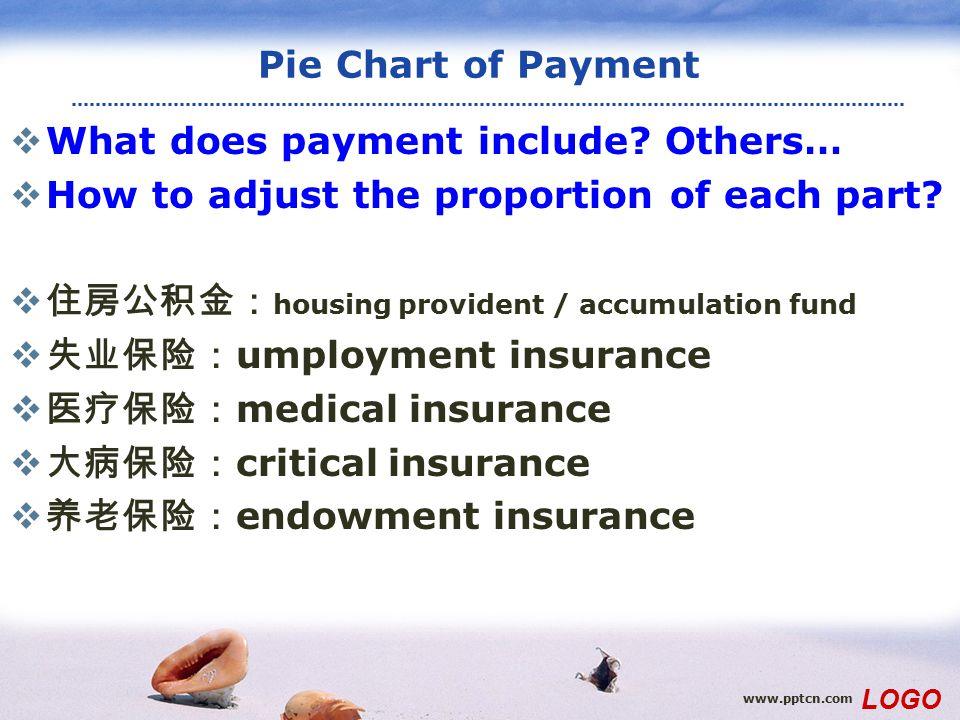 www.pptcn.com LOGO Pie Chart of Payment  What does payment include? Others…  How to adjust the proportion of each part?  住房公积金: housing provident /