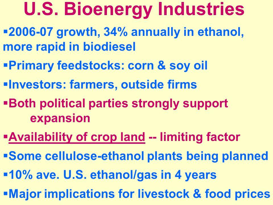 U.S. Bioenergy Industries  2006-07 growth, 34% annually in ethanol, more rapid in biodiesel  Primary feedstocks: corn & soy oil  Investors: farmers
