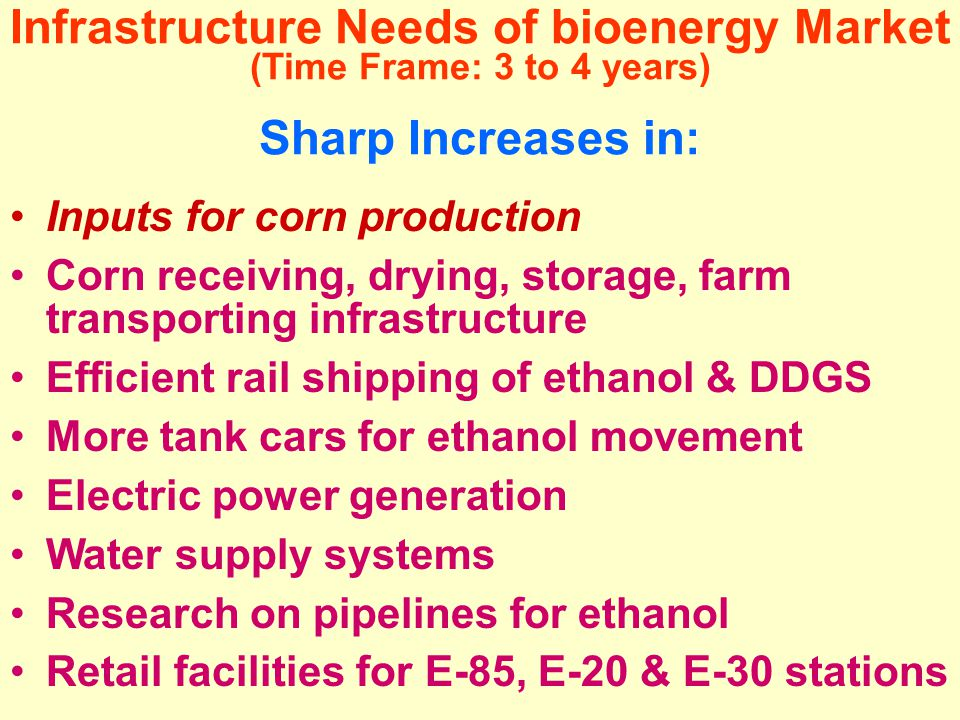 Infrastructure Needs of bioenergy Market (Time Frame: 3 to 4 years) Sharp Increases in: Inputs for corn production Corn receiving, drying, storage, farm transporting infrastructure Efficient rail shipping of ethanol & DDGS More tank cars for ethanol movement Electric power generation Water supply systems Research on pipelines for ethanol Retail facilities for E-85, E-20 & E-30 stations