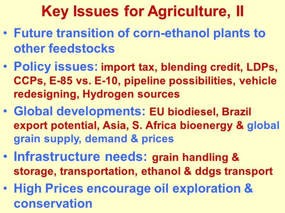 Key Issues for Agriculture, II Future transition of corn-ethanol plants to other feedstocks Policy issues: import tax, blending credit, LDPs, CCPs, E-85 vs.