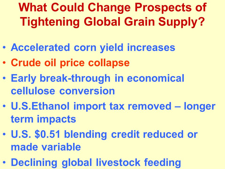 What Could Change Prospects of Tightening Global Grain Supply.