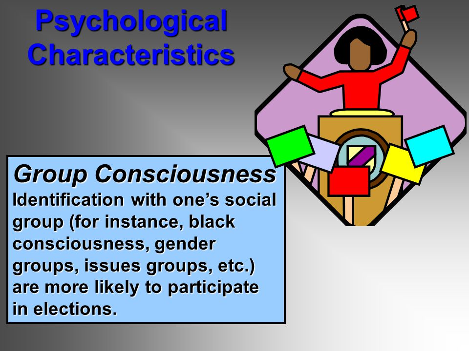 Group Consciousness Identification with one's social group (for instance, black consciousness, gender groups, issues groups, etc.) are more likely to participate in elections.