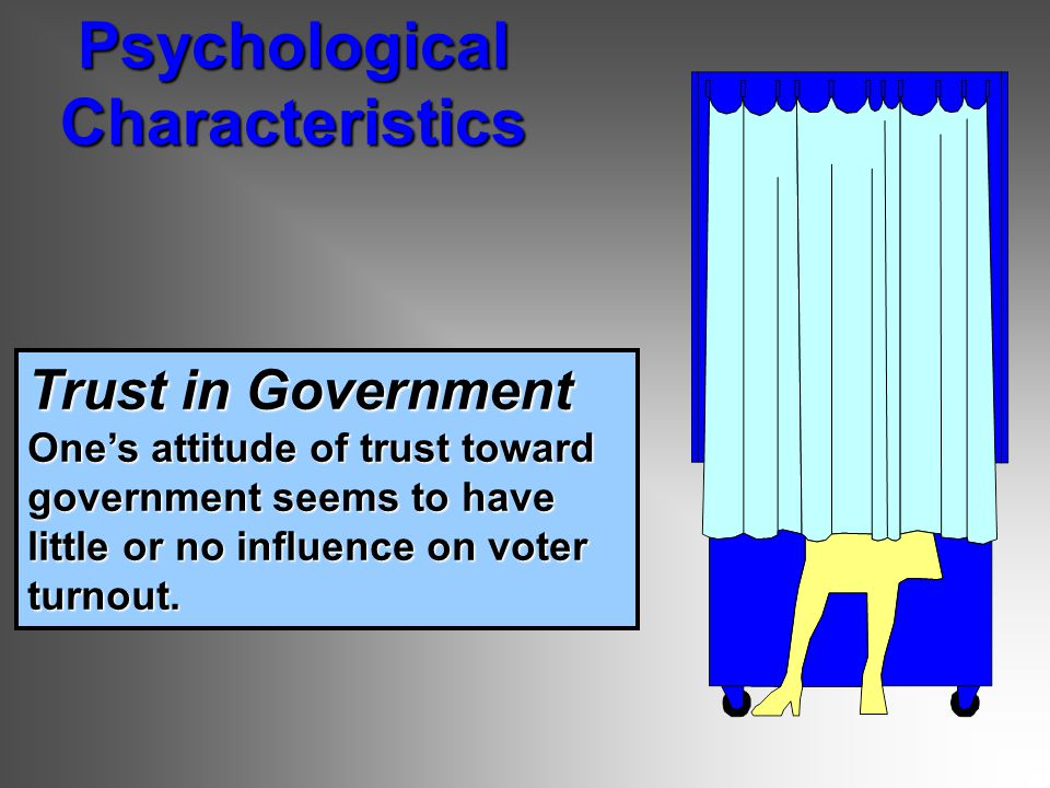 Trust in Government One's attitude of trust toward government seems to have little or no influence on voter turnout.