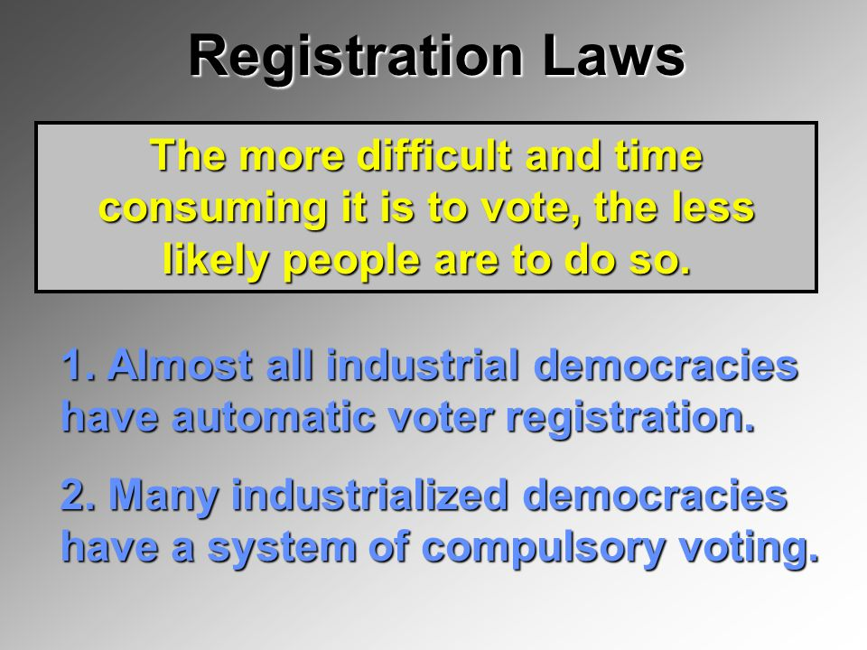 Registration Laws The more difficult and time consuming it is to vote, the less likely people are to do so.