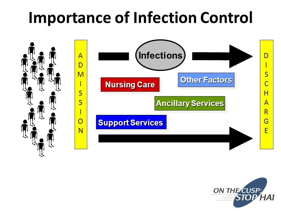 Importance of Infection Control DISCHARGEDISCHARGE ADMISSIONADMISSION Infections Nursing Care Ancillary Services Support Services Other Factors