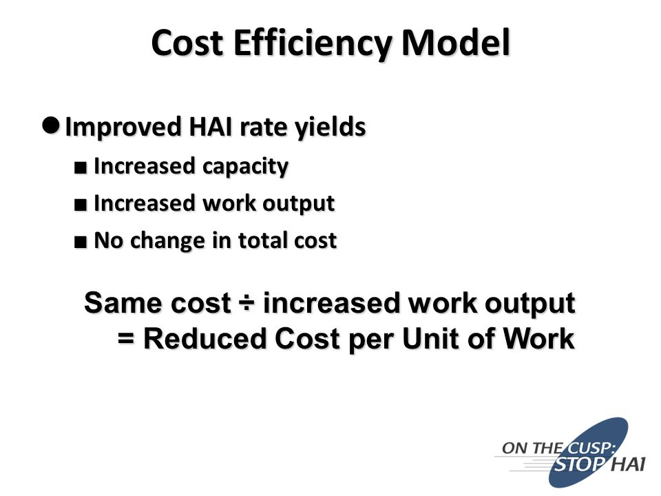 Improved HAI rate yields Improved HAI rate yields ■ Increased capacity ■ Increased work output ■ No change in total cost Same cost ÷ increased work output = Reduced Cost per Unit of Work Cost Efficiency Model