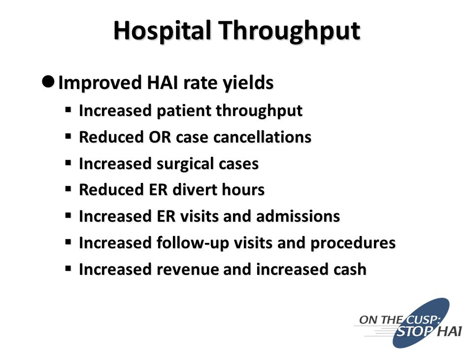 Improved HAI rate yields Improved HAI rate yields  Increased patient throughput  Reduced OR case cancellations  Increased surgical cases  Reduced