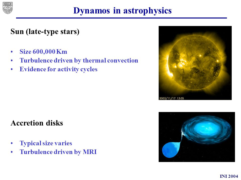 INI 2004 Dynamo in astrophysics Galaxy Typical size: 10 20 m Turbulence driven by supernovae explosions Field mostly in the galactic plane Radio galaxies --IGM Typical size: 30 Kpc wide, 300 Kpc long Turbulence in central object driven by gravitational/rotational energy of SMBH Evidence for expulsion of magnetic helices in lobes
