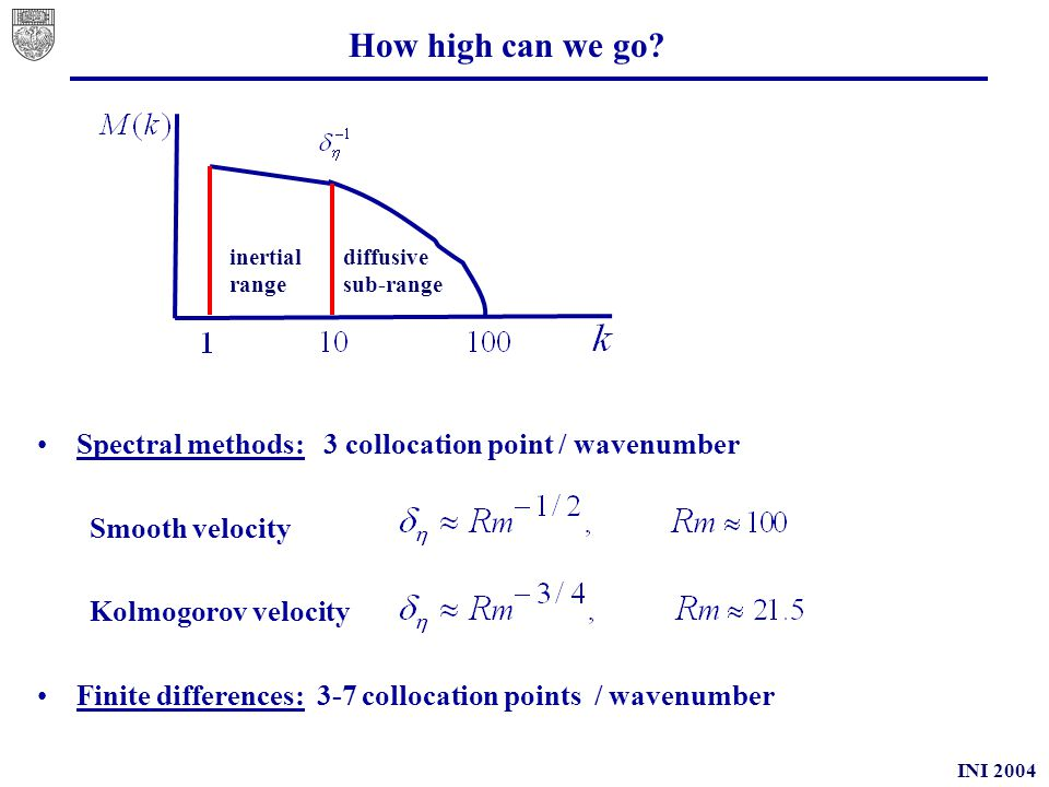 INI 2004 Memory effects (2D) With diffusivity given by (Taylor 1921) from Cattaneo Turbulence develops a memory