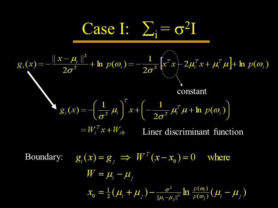 Case I:  i =  2 I constant Liner discriminant function Boundary: