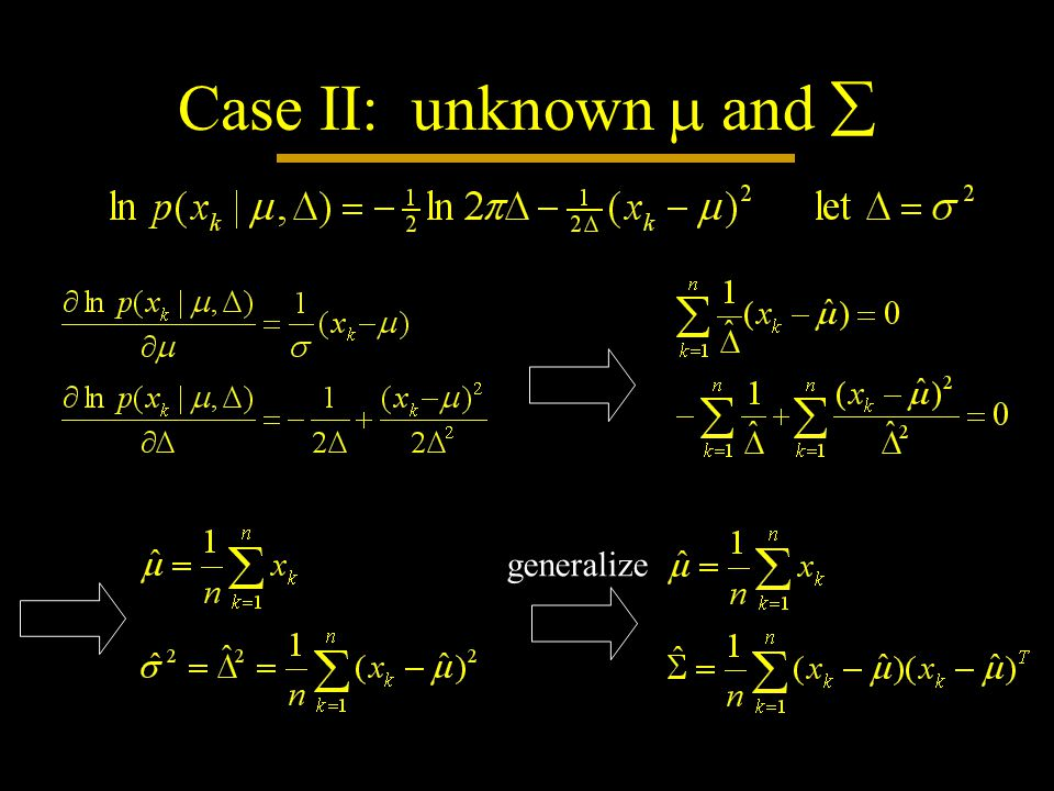 Case II: unknown  and  generalize