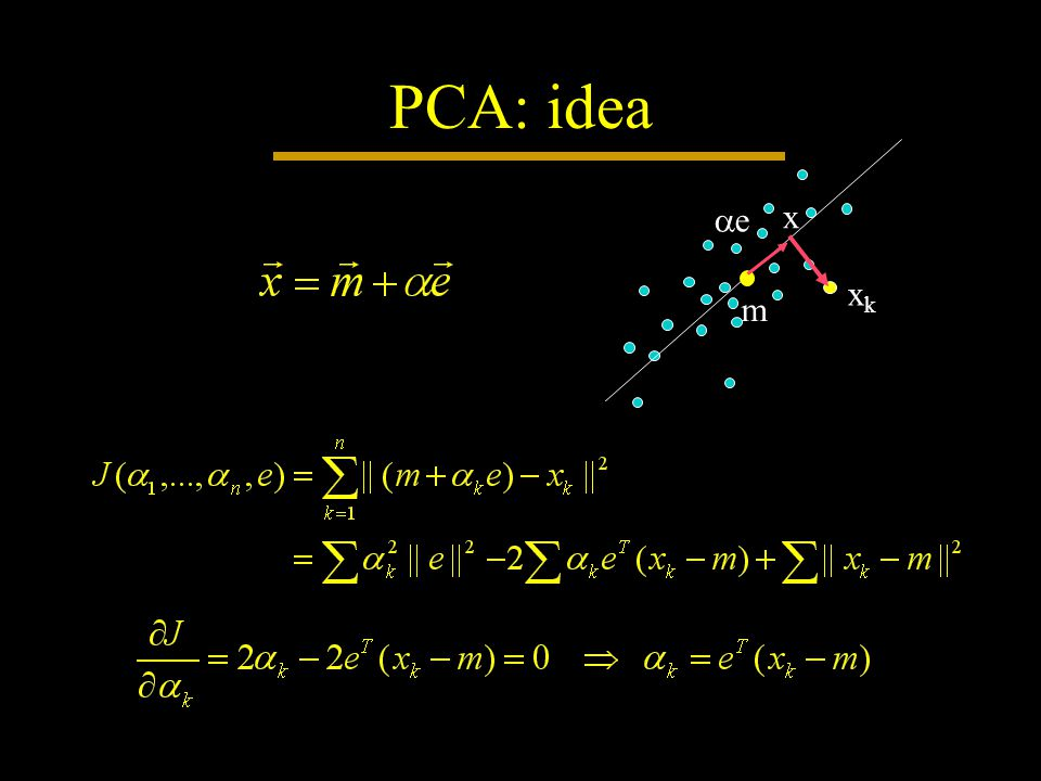 PCA: idea m ee x xkxk