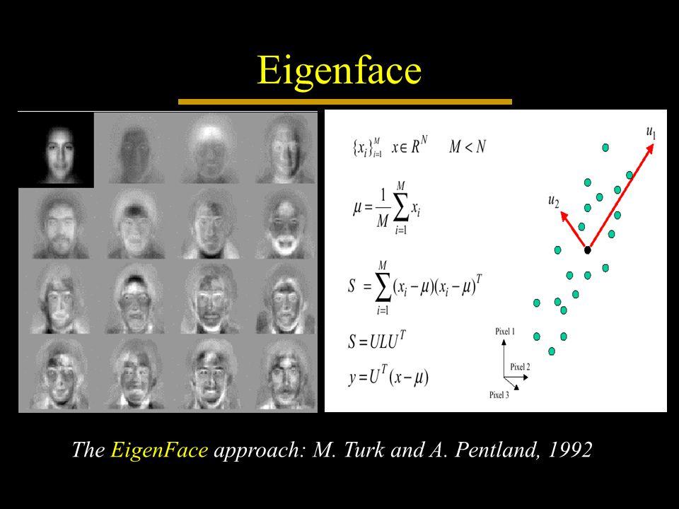 Eigenface The EigenFace approach: M. Turk and A. Pentland, 1992