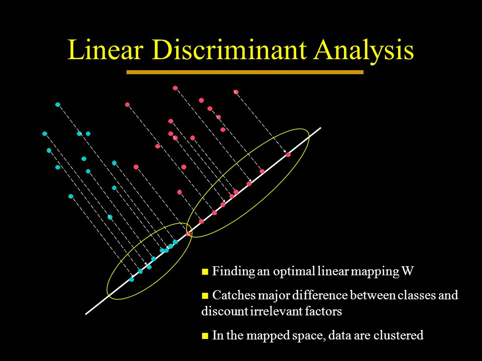 Linear Discriminant Analysis Finding an optimal linear mapping W Finding an optimal linear mapping W Catches major difference between classes and discount irrelevant factors Catches major difference between classes and discount irrelevant factors In the mapped space, data are clustered In the mapped space, data are clustered