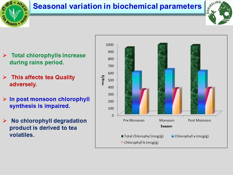 Seasonal variation in biochemical parameters Seasonal variation in biochemical parameters  Total chlorophylls increase during rains period.