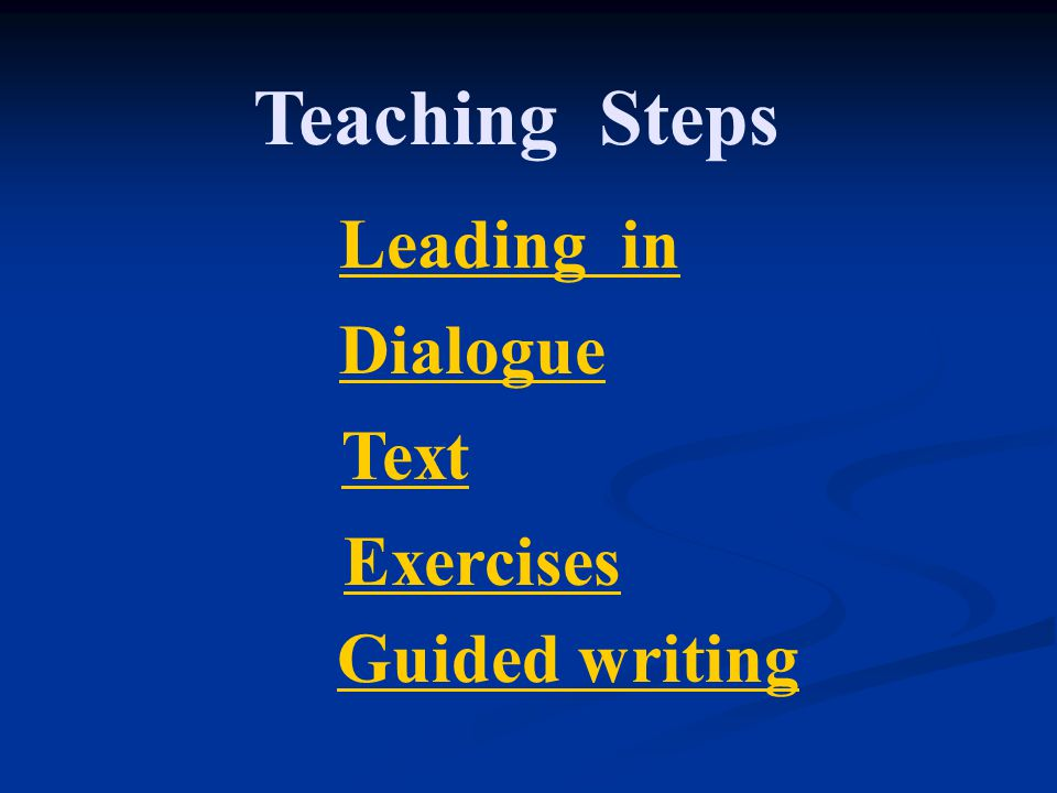 Text Guided writing Teaching Steps Leading in Dialogue Exercises