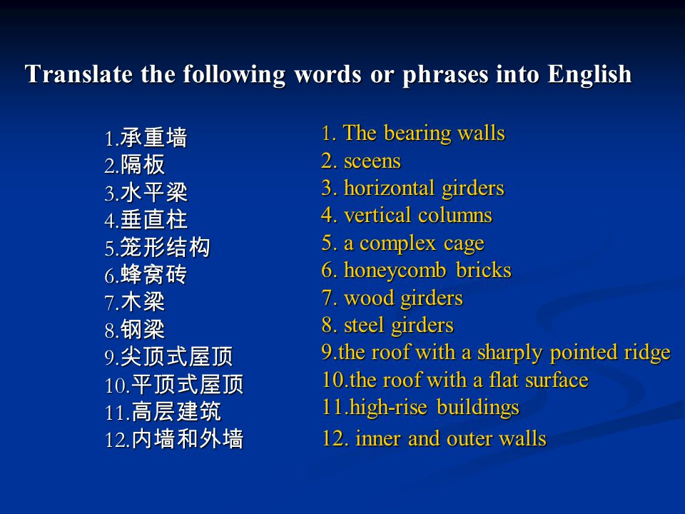 Translate the following words or phrases into English Translate the following words or phrases into English 1.